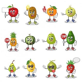 Set vettoriale di frutta mascotte dei cartoni animati con emoticon