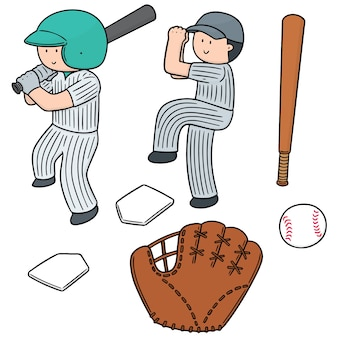 Set vettoriale di giocatore di baseball e attrezzature da baseball