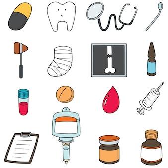 Set vettoriale di icona di assistenza sanitaria