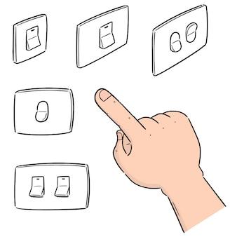 Set vettoriale di interruttore elettrico