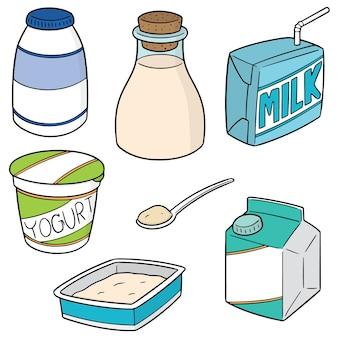 Set vettoriale di latte prodotto