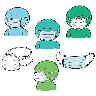 Set vettoriale di maschera protettiva medica