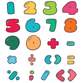 Set vettoriale di numero
