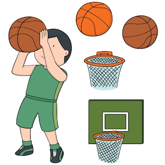 Set vettoriale di palla da basket, telaio e giocatore di basket