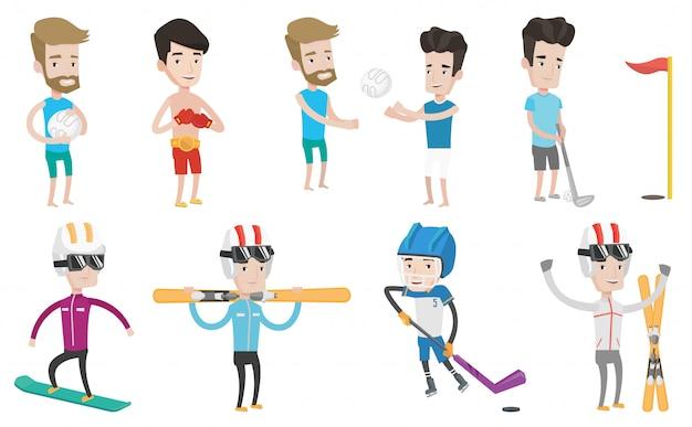 Set vettoriale di personaggi sportivi.