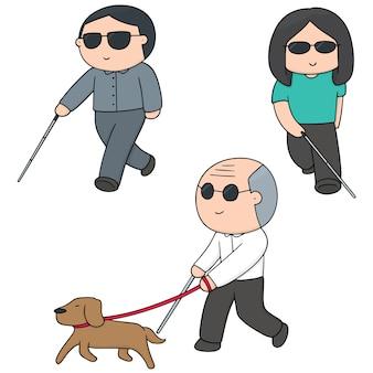 Set vettoriale di persone cieche