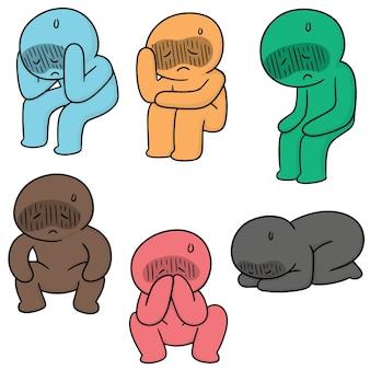 Set vettoriale di persone tristi