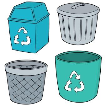 Set vettoriale di riciclare spazzatura