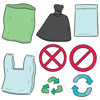 Set vettoriale di sacchetto di plastica e icona di riciclo