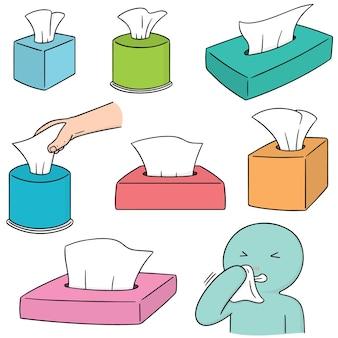 Set vettoriale di scatola del tessuto