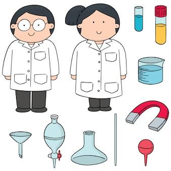 Set vettoriale di scienziato e attrezzature di laboratorio