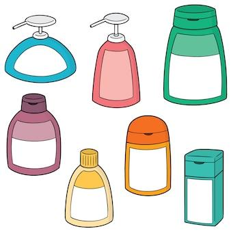 Set vettoriale di shampoo e bottiglia di sapone liquido