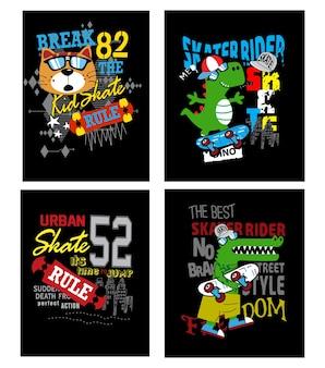 Set vettoriale di skate board per t-shirt e altri usi