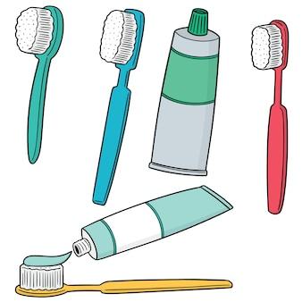 Set vettoriale di spazzolino da denti e dentifricio