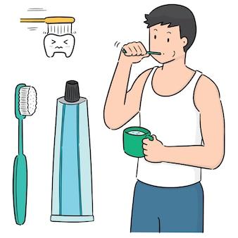 Set vettoriale di uomo lavarsi i denti