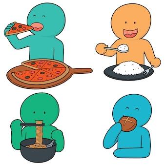 Set vettoriale di uomo mangia