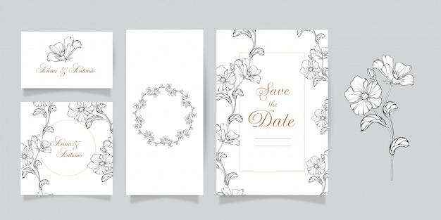 Set vettoriale. fiori delicati, set di carte