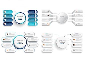 Set vettoriale infografica con etichetta di carta 3D.