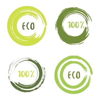 Set vettoriale verde con colpi di pennello cerchio per cornici, icone, elementi di design banner. grunge decorazione eco