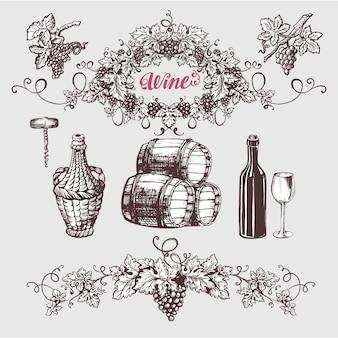 Set vintage di vino e vinificazione.