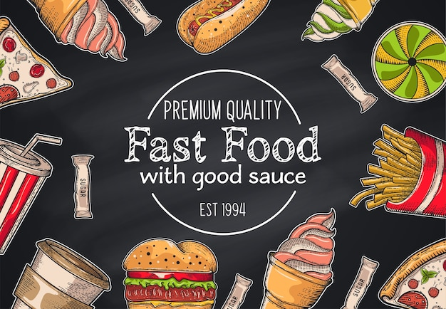 Set vintage fast food. disegnato a mano, lettering, schizzo