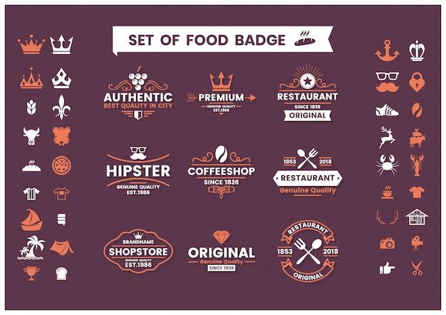 Set vintage ristorante di loghi, distintivi di cibo e icone