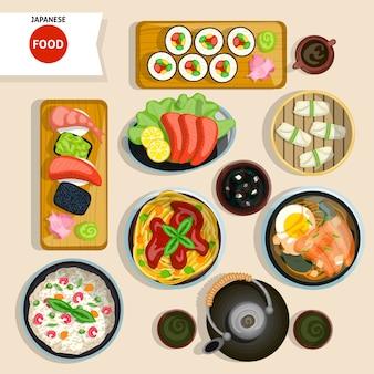 Set vista dall'alto di cibo giapponese