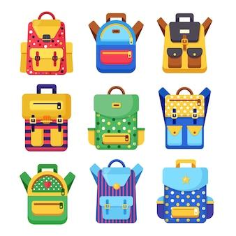 Set zaino scuola. zaino per bambini, zaino su sfondo bianco. borsa con forniture, righello, matita, carta. borsa della pupilla. educazione dei bambini, torna al concetto di scuola. illustrazione