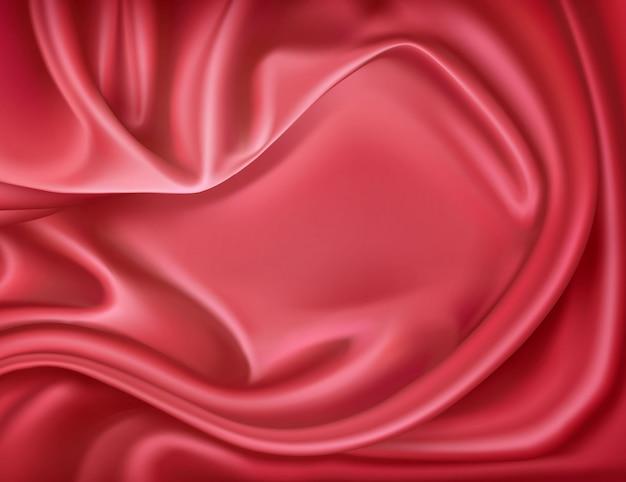 Seta rossa realistica di lusso, fondo tessile in raso