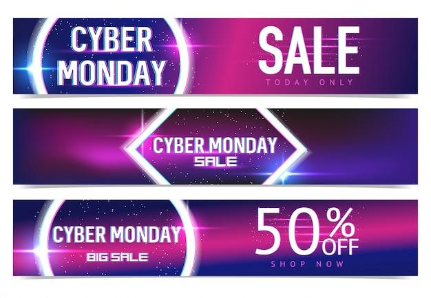 Setbanners per la vendita del cyber monday con effetti neon e glitch. cyber monday, modelli di shopping e marketing online. manifesto . .