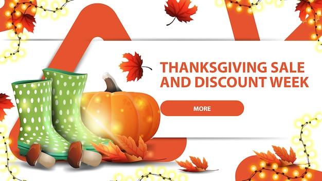 Settimana del ringraziamento vendita e sconto, banner web bianco sconto orizzontale