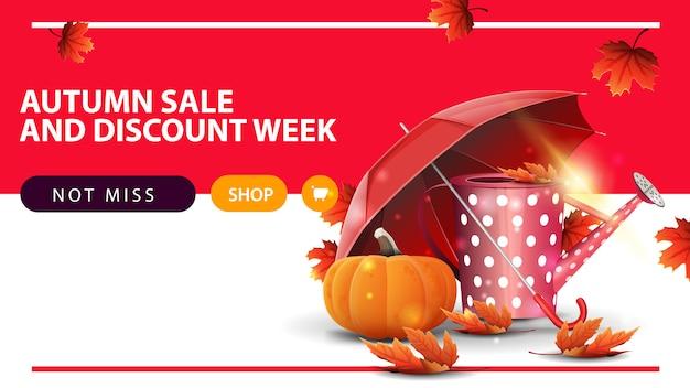 Settimana di vendita e sconto autunno, banner web sconto orizzontale