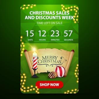 Settimana di vendita e sconto di natale, banner web verde con pulsante, conto alla rovescia fino alla fine degli sconti