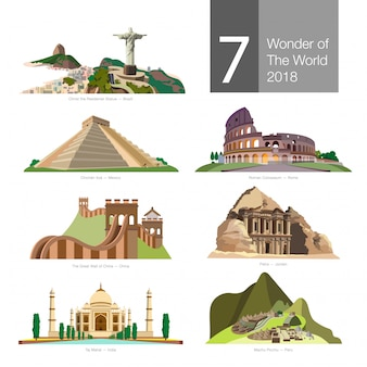 Seven wonder of the world vector.