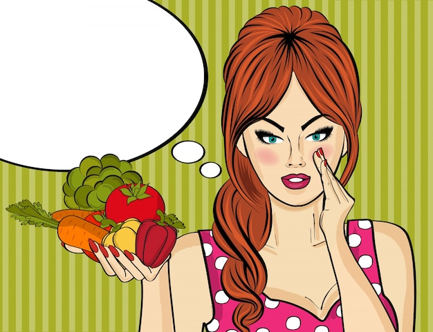 Sexy donna di arte pop con verdure in sua mano