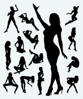 Sexy girl in action silhouette