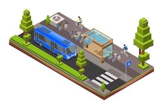 Sezione trasversale del bus isometrico. Stazione di vetro 3d della città con le biciclette parcheggiate, ciclisti