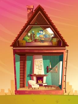 Sezione trasversale interna della camera, stanza dei giochi dei bambini del fumetto alla soffitta con mobilia
