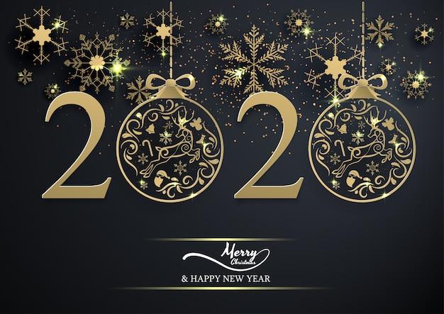Sfera 2020 di natale del fiocco di neve e della decorazione dell'oro sul nero