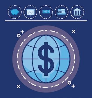 Sfera con set di icone economia finanza