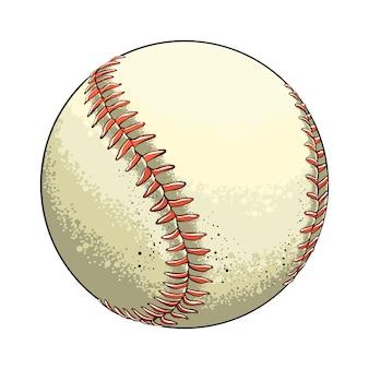 Sfera di baseball disegnata a mano di schizzo a colori, isolata su bianco