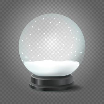 Sfera di cristallo trasparente con neve isolata su trasparente