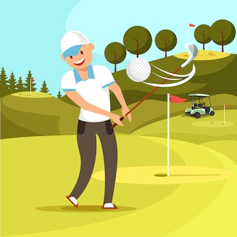 Sfera di golf colpita da un uomo sorridente in uniforme bianca.
