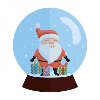 Sfera di neve natale con santa e regali