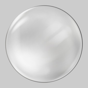 Sfera di vetro realistica. sfera trasparente, bolla realistica