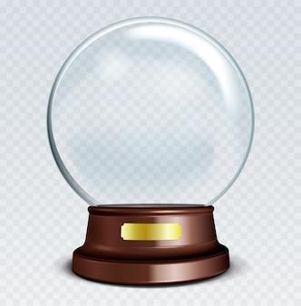 Sfera di vetro trasparente bianco su supporto