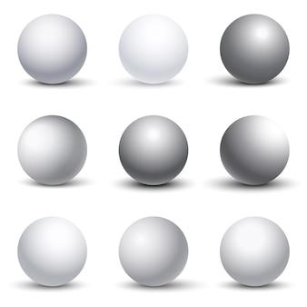 Sfere 3d bianche con ombre impostate. forma dell'illustrazione elemento tondo