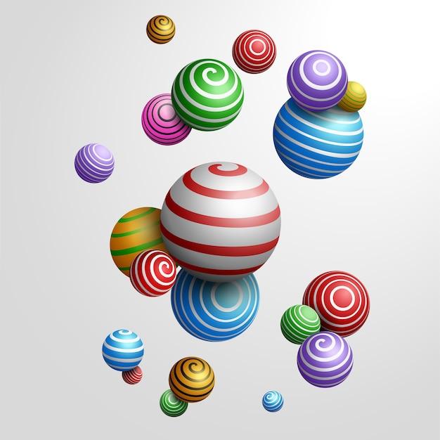 Sfere decorative multicolori astratte. illustrazione 3d