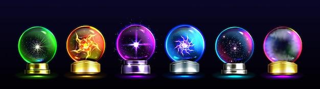 Sfere di cristallo magiche per predizione del futuro e previsione futura