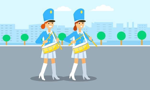 Sfilata di ragazze di batteria, stile piatto